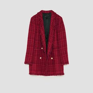 Zara Jackets & Coats - ZARA Tweed Frayed Jacket With Embellished Buttons
